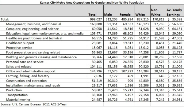 Gender and Race Occupations Table